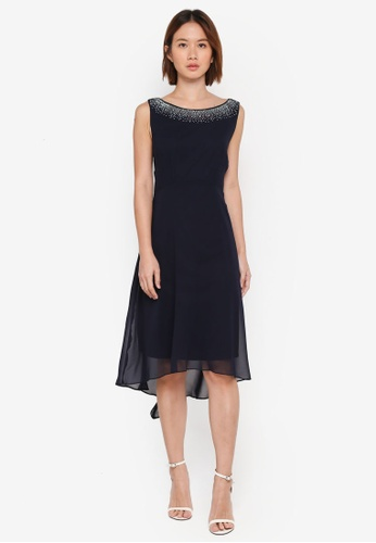Wallis navy Navy Detailed Asymmetric Fit And Flare Dress DDABFAACA7A141GS_1