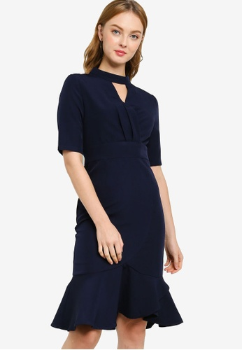 ZALORA WORK 海軍藍色 High Neck Ruffle Hem Dress A0A26AAA47D318GS_1