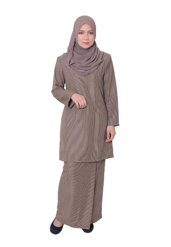 Baju Kurung Mawar from AALIA in Brown