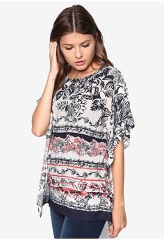 Border Print Kimono Sleeve Top