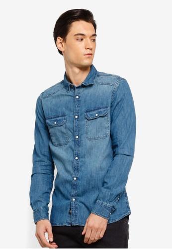 54aa854f432 Burton Menswear London blue Blue Long Sleeve Western Denim Shirt  F44C0AA8AA48D5GS 1