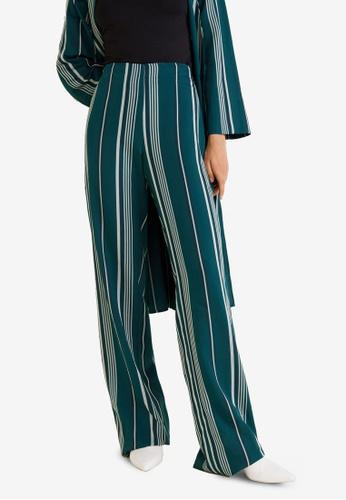 Mango green Striped Soft Trousers 9611DAA14B1D06GS_1