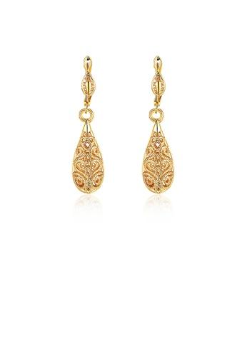 Glamorousky silver Elegant Plated Gold Water Drop Pattern Earrings DBF72AC73C27EFGS_1