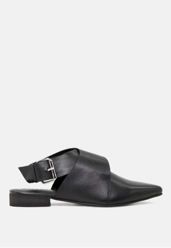 RAG & CO black Leather Mules with Buckle Closure E5CDDSHACD87CCGS_1