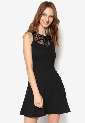 蕾絲拼肩無袖修身洋裝esprit 兼職, 服飾, 洋裝