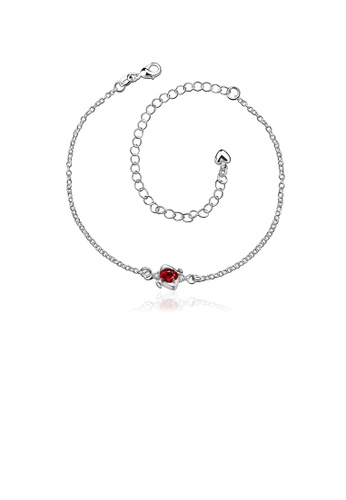 Glamorousky red Simple and Elegant Geometric Red Cubic Zircon Anklet FA4D7AC40E1100GS_1
