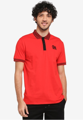 Fidelio red Sleeves Casual Polo Shirt 20F33AAE0E68E9GS_1