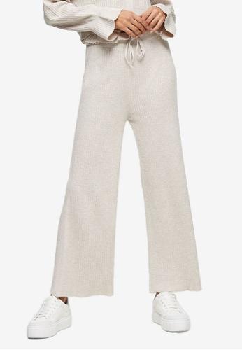 TOPSHOP beige Oat Wide Legged Trousers 4C057AA6F127E1GS_1