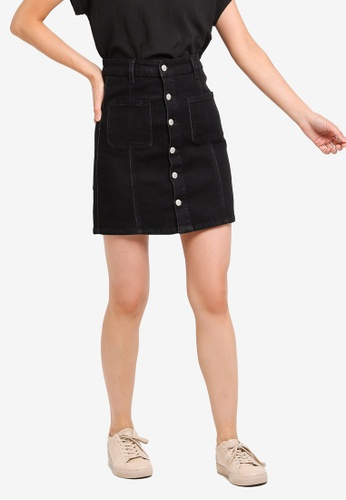 ZALORA BASICS black Basic Denim Button Detail Skirt 7EE8BAA97AC580GS_1