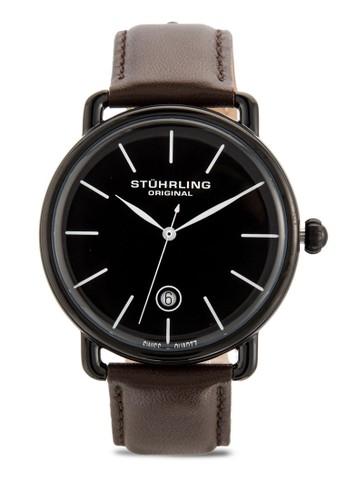 Stuhrling Oriesprit台灣門市ginal 768.03 Ascot 日期皮革手錶, 錶類, 飾品配件