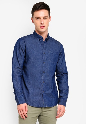 384e72e50eb Shop Burton Menswear London Dark Wash Long Sleeve Denim Shirt Online on  ZALORA Philippines