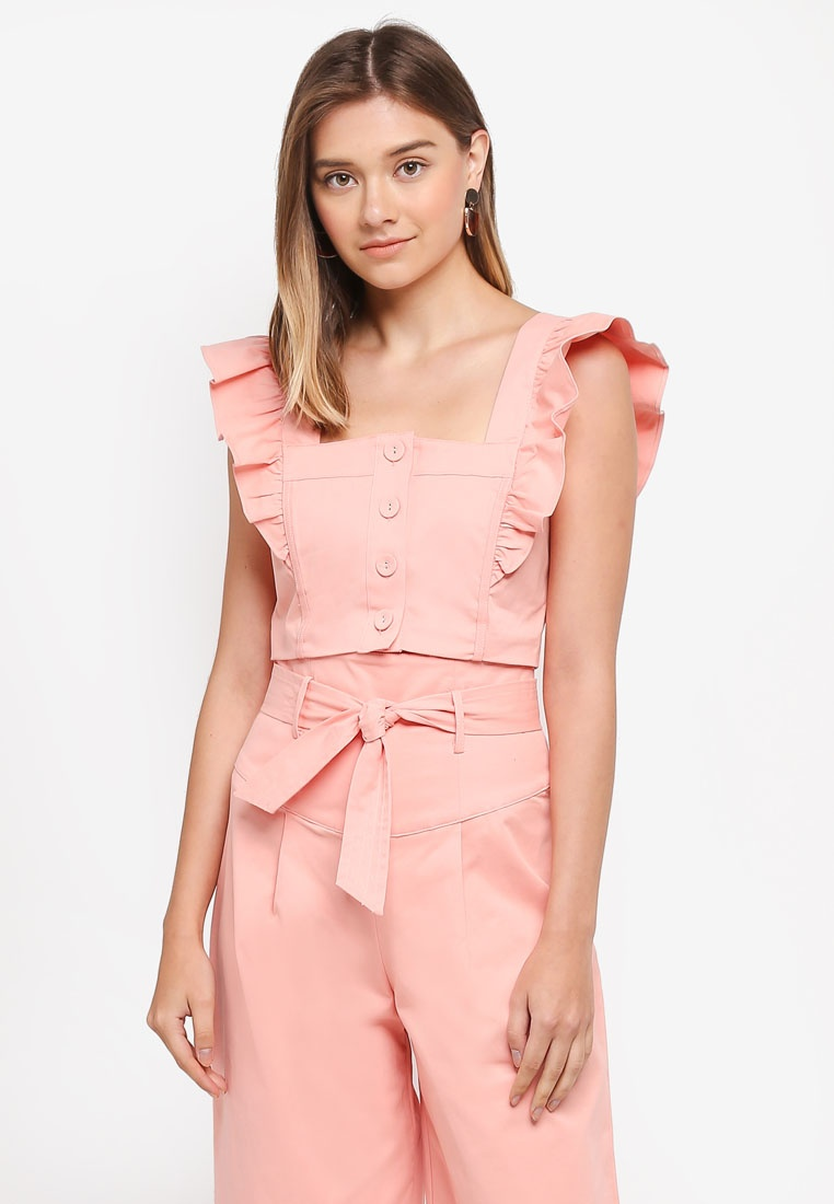 Through Top Crop INK Button LOST Frill Detail Pink wq8Bypg