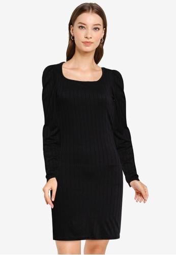 Miss Selfridge black Black Square Neck Mini Dress 52A65AAED9E91FGS_1