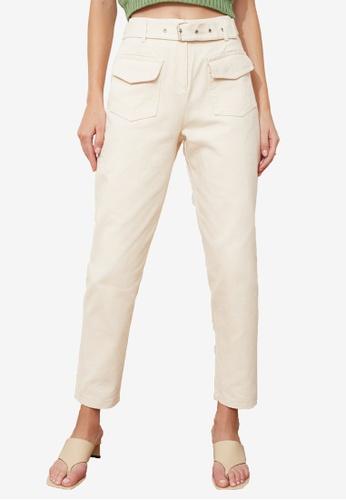 Trendyol beige Belted High Waist Pants ADF20AA80D348DGS_1