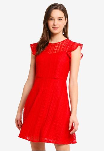 Hopeshow red Lace Ruffled Mini Dress 56B1DAA805A390GS_1