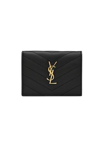 SAINT LAURENT black Yves Saint Laurent Monogram Small Wallet in Black 6D9CEACFFC9AC2GS_1