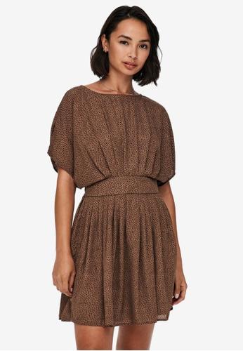 JACQUELINE DE YONG brown Basil Short Sleeves Dress EE7B6AA6183EE3GS_1