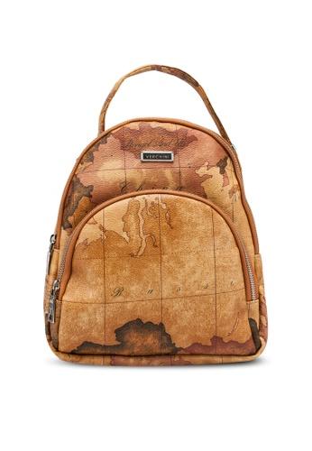 Verchini brown Verchini Map Printing Casual Backpack 3233DAC19DF334GS_1