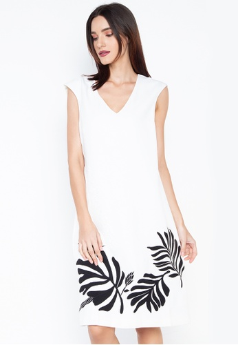 N Natori white Solid Twill Dress With Applique F5E48AAC7FF529GS_1