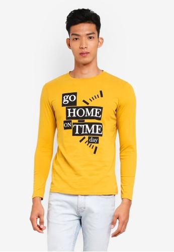 Marc & Giselle 褐色 長袖印花T恤 95E1CAA19351F4GS_1