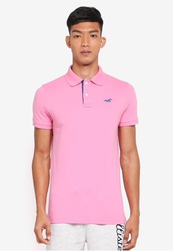 Hollister pink Core Short Sleeve Solid Polo Shirt 619D7AAB360AEEGS_1