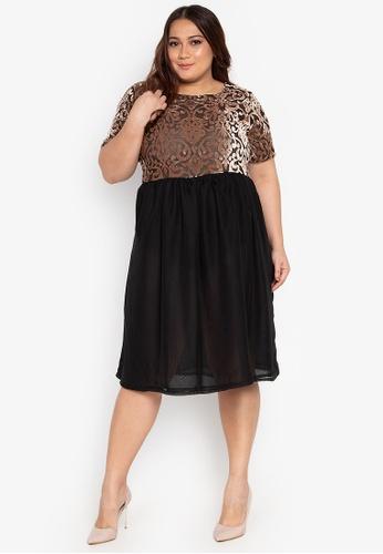 Plus Size Dress Short Sleeves Velvet Mesh