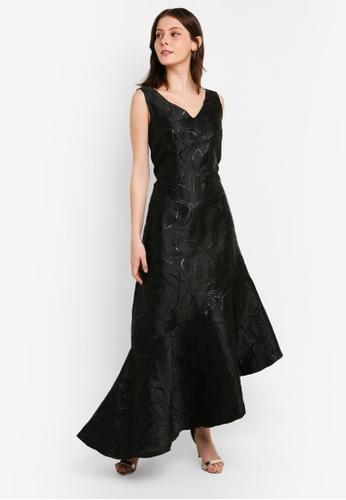 CLOSET black Closet Gold Asymmetric Frill Dress 42FE8AAE535145GS_1