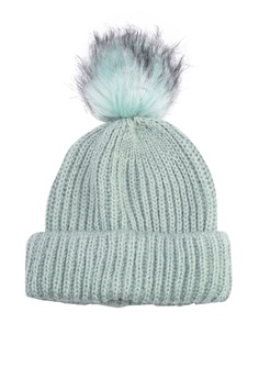 1324035be4151 TOPSHOP green Knit Beanie With Fur Pom 9D0F9AC5BD546BGS 1