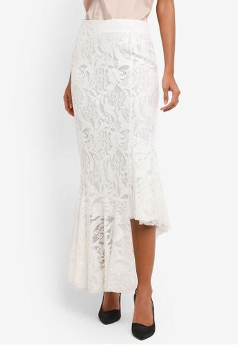 bYSI white Asymmetrical Hem Lace Skirt BY867AA0RNOZMY_1