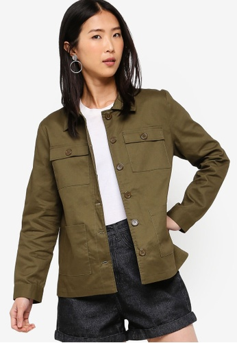 ZALORA BASICS green Basic Utility Shacket 4BB72AA6994663GS_1