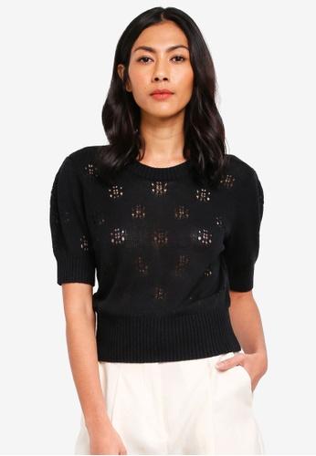 NAIN black Puff Sleeve Knit Top 8F201AA336A286GS_1