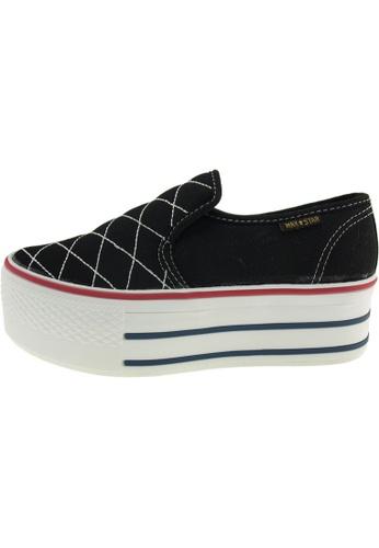 Maxstar 黑色 新款韩国鞋C50-Stitch時尚帆布布混合女黑色 US Women Size MA345SH22GWFTW_1