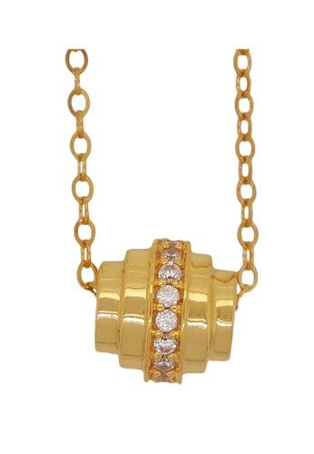 LITZ gold LITZ 916 (22K) Cubic Zirconia Gold Will Necklace D5EFAACAAB69FCGS_1