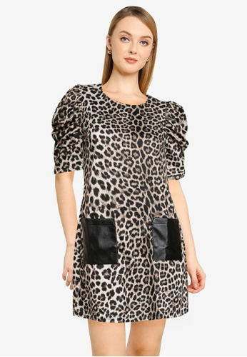 Dorothy Perkins brown Leopard Print Pocket Tunic 2B272AA375D008GS_1