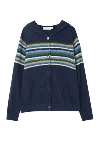 Its Me navy Striped Colorblock Hooded Knitted Jacket 55B40AA5F60BA2GS_1