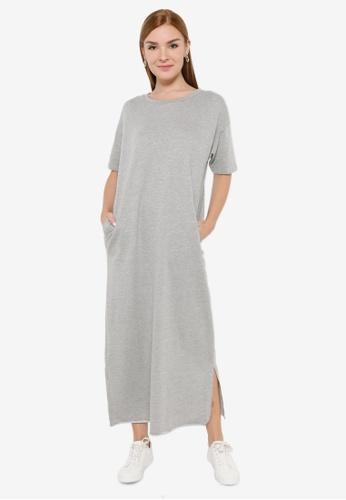 niko and ... grey Oversized Long T-shirt Dress 219AAAABCA9860GS_1