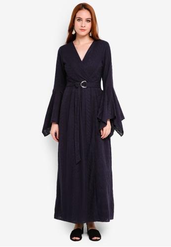 Zalia navy Eyelet Wrap Dress DDA54AAD67143CGS_1