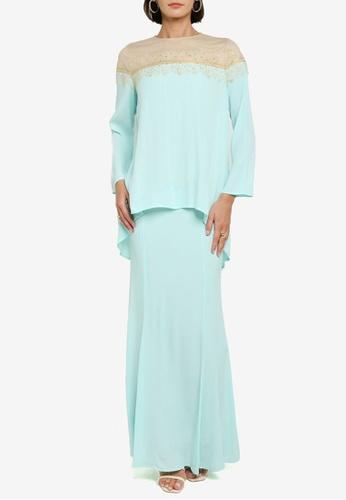 Zalia green Hi-lo Kurung Kedah With Lace Set 7FAB1AA738EA87GS_1