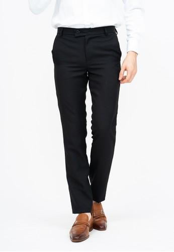 House of Cuff black Celana panjang pria slim fit kerja formal button celana bahan stretch Hitam B34EAAA4220A3FGS_1