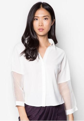 歐根esprit home 台灣紗拼接長袖上衣, 服飾, 服飾