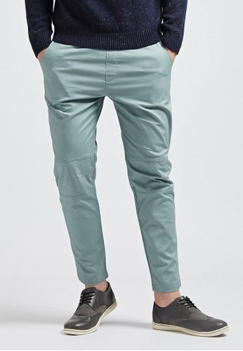 日系休閒。膝zalora 泳衣剪接設計。超彈力棉麻長褲-02347-草綠, 服飾, 直筒褲