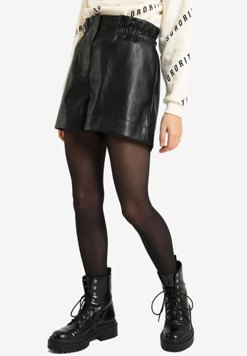 PIMKIE black High Waist Faux Leather Shorts 17874AA86A04C6GS_1