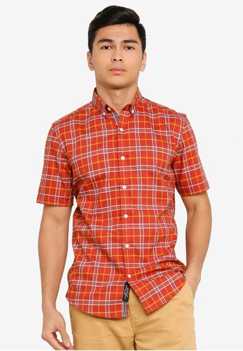 UniqTee orange Checkered Short Sleeve Shirt 2D008AA838E770GS_1