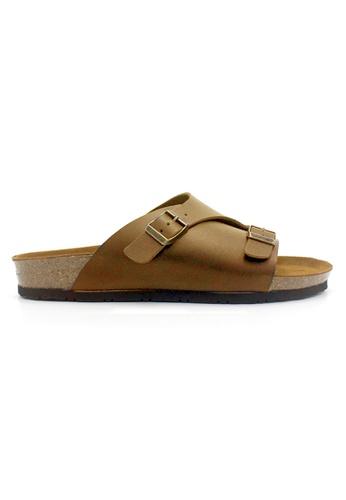 SoleSimple 褐色 Jersey - 駱駝色 百搭/搭帶 全皮軟木涼鞋 39094SH1CC933AGS_1