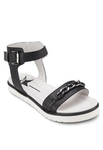 鍊飾繞踝zalora 衣服尺寸厚底涼鞋, 女鞋, 鞋
