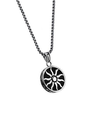 ADORA black Stainless Steel Shiny Sun Pendent Necklace EB1FCAC22E95FDGS_1