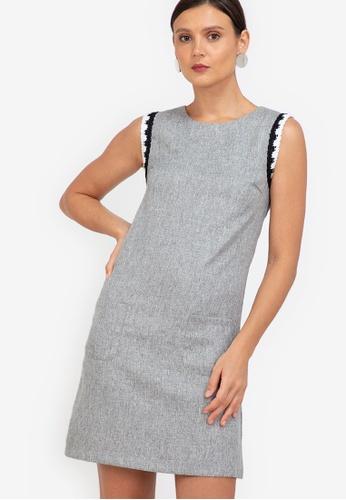 ZALORA WORK grey Sleeveless Trim Detail Dress 8A0CCAA37A5ECDGS_1