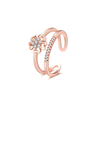 Glamorousky white Fashion Elegant Plated Rose Gold Flower Cubic Zircon Adjustable Open Ring DD0FCACC7021FCGS_1