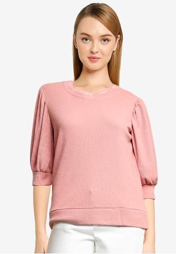 JACQUELINE DE YONG pink Flagstaff 3/4 Sweat Top CC5C7AAF82C7CEGS_1