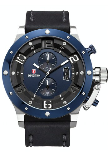 Expedition black Expedition Jam Tangan Pria - Black Silver Blue - Leather Strap - 6381 MCLTUBU A9C61ACD342518GS_1